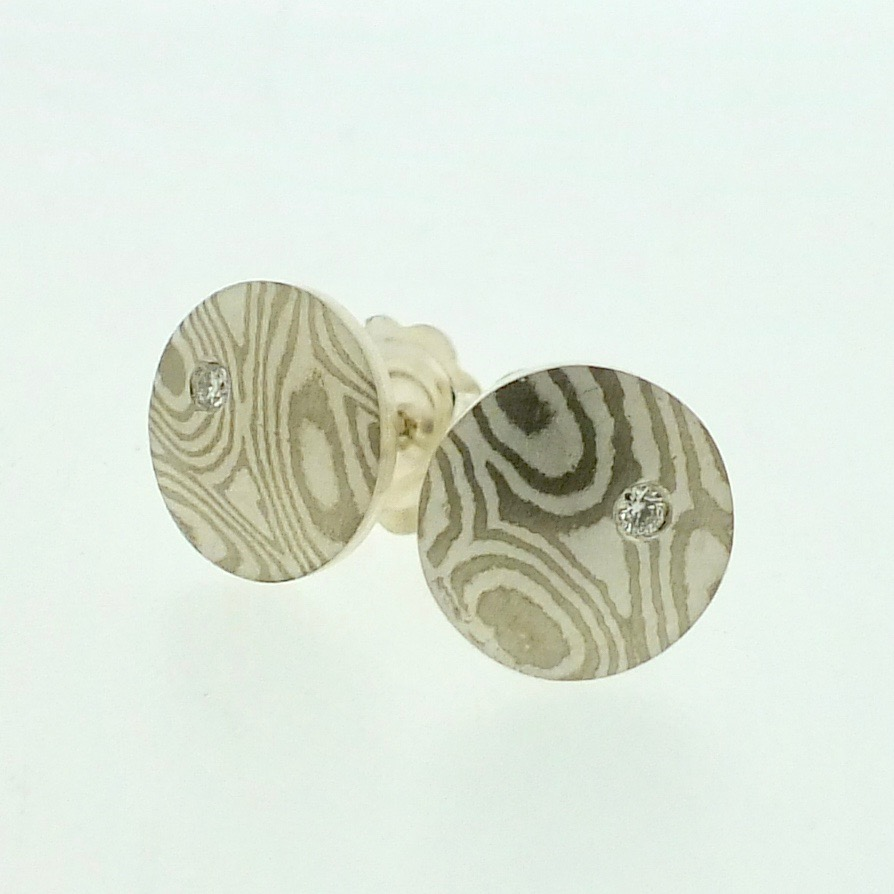 Small 18k white gold and silver mokume gane Discus stud earrings