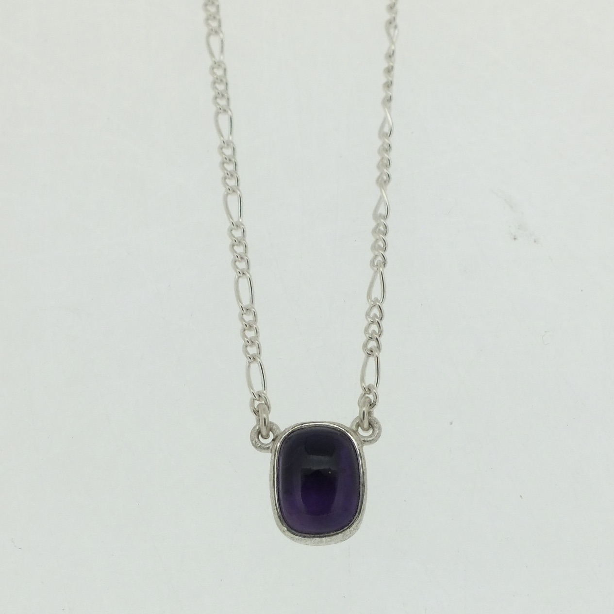Amethyst Cushion Cabochon Pendant in frosted sterling silver