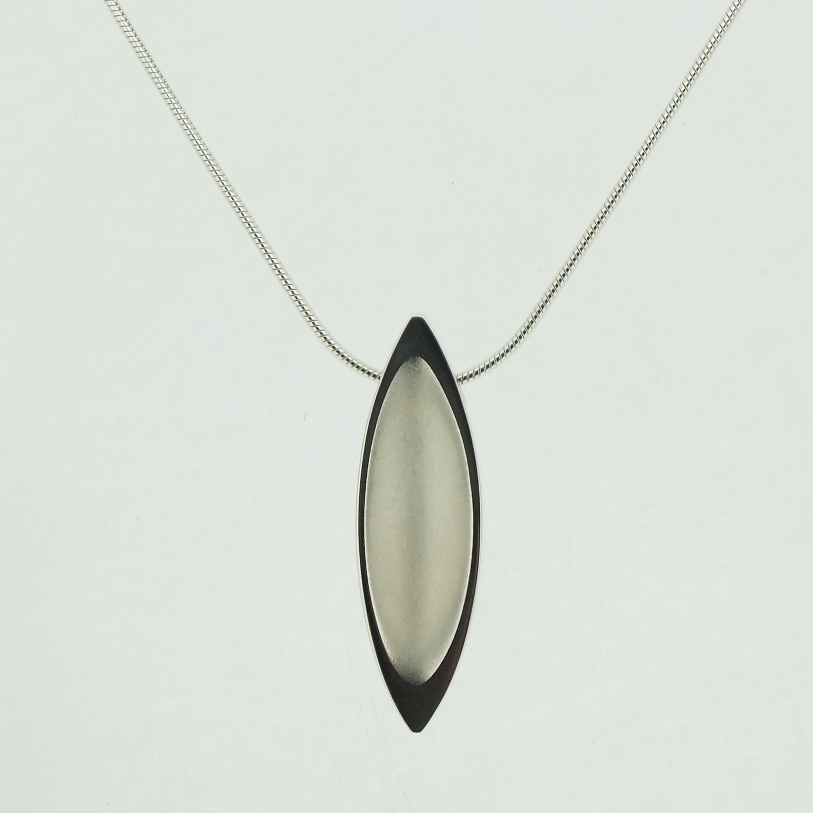 Mandorla Pendant in textured sterling silver