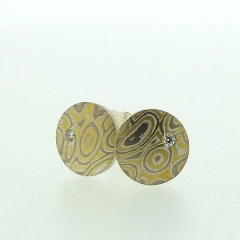 Small 22k gold, 18k white gold and silver mokume gane Discus stud earrings