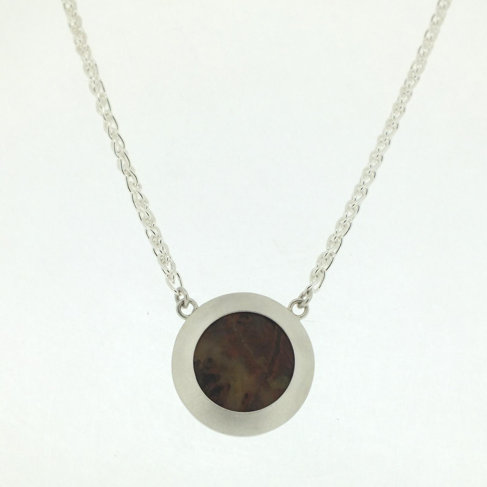 Pilbara Jasper Pendant on heavy silver spiga chain