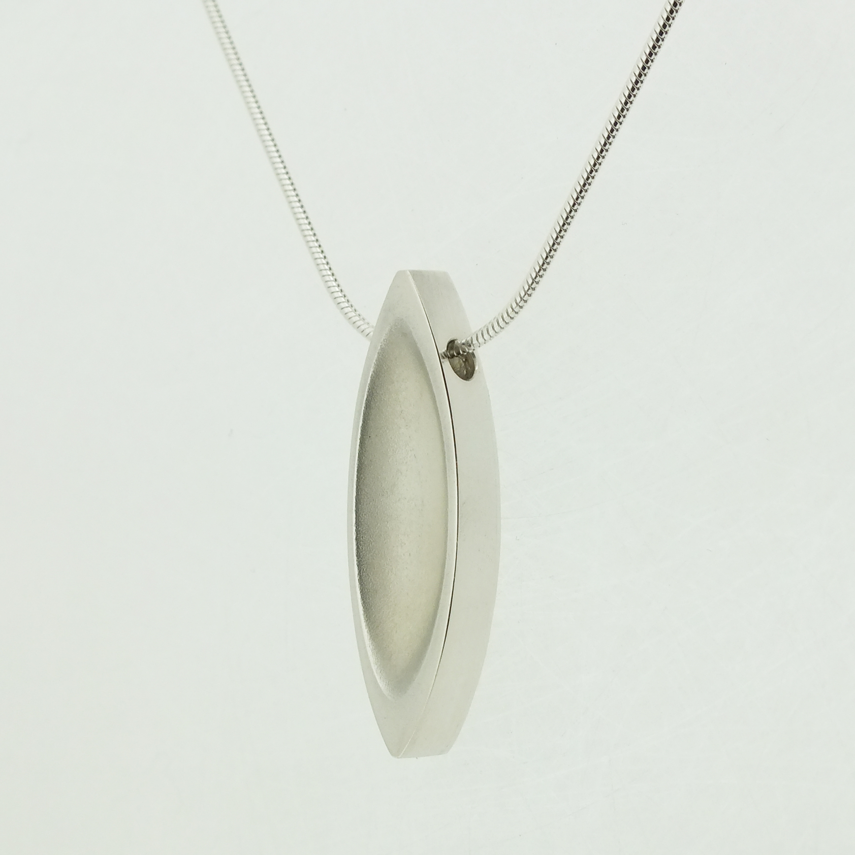 Mandorla Pendant in textured sterling silver