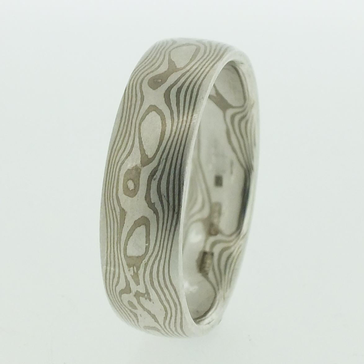 18k White Gold And Silver Mokume Gane Rings