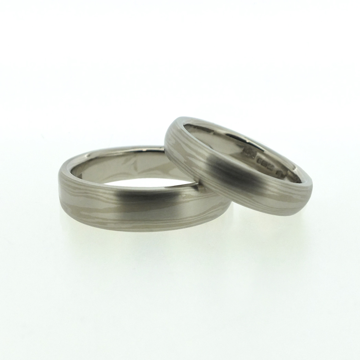 Platinum And 18k White Gold Mokume Gane Rings