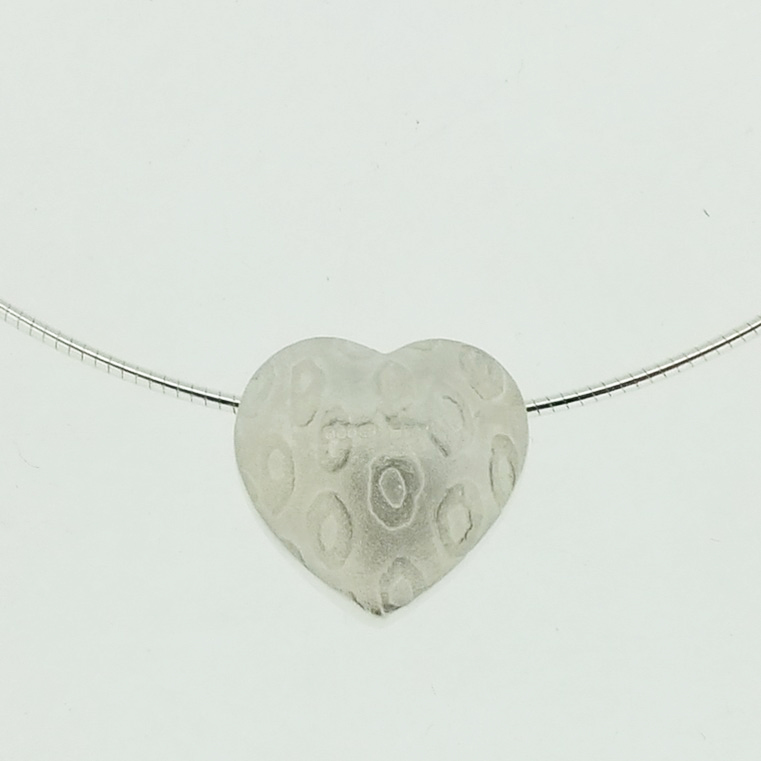 Cross-Drilled Heart Pendant in textured sterling silver
