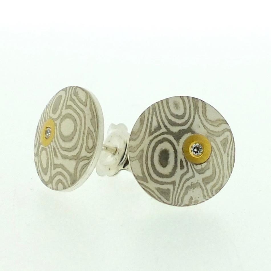 18k white gold and silver mokume gane discus stud earrings
