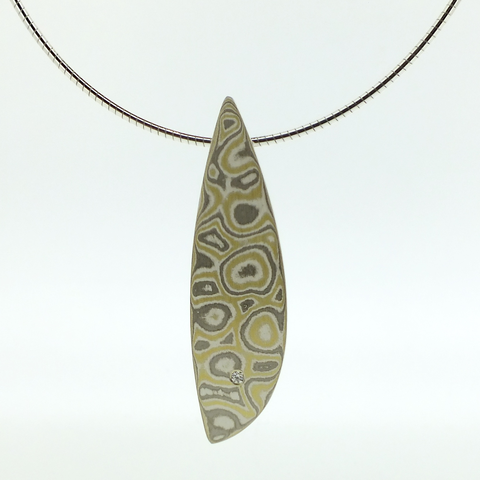 22k gold, 18k white gold and silver mokume gane large Sgiath pendant with diamond detail