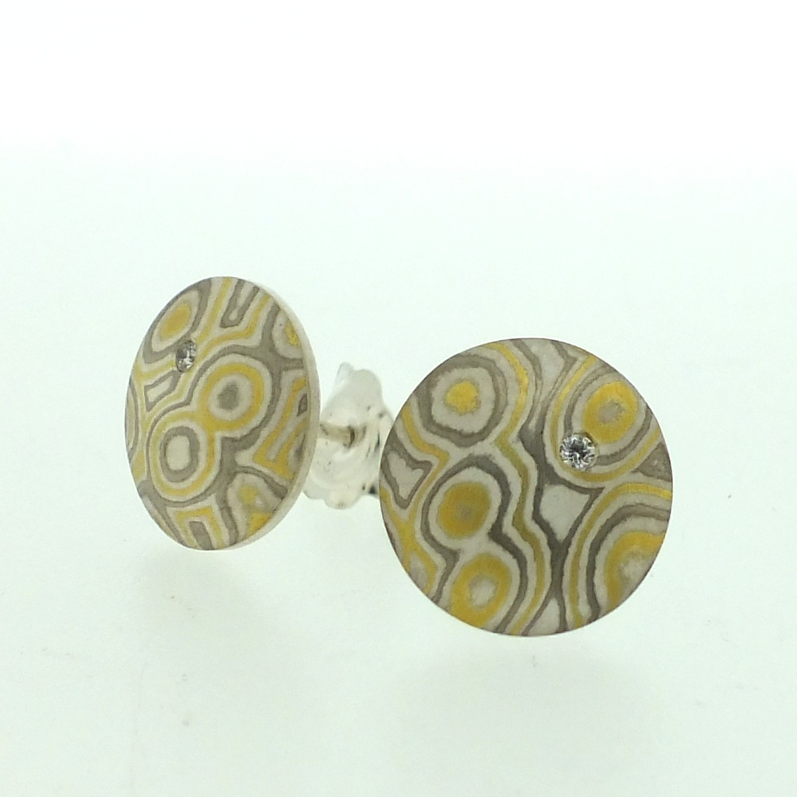 22k gold, 18k white gold and silver mokume gane medium Discus stud earrings