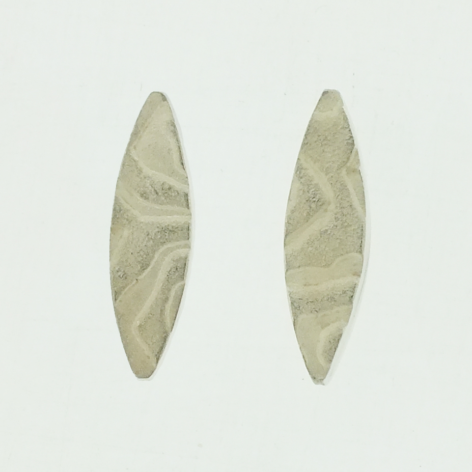 Mandorla textured silver stud earrings