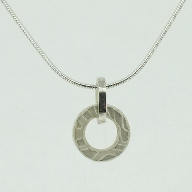 Medium Ring Pendant in textured sterling silver