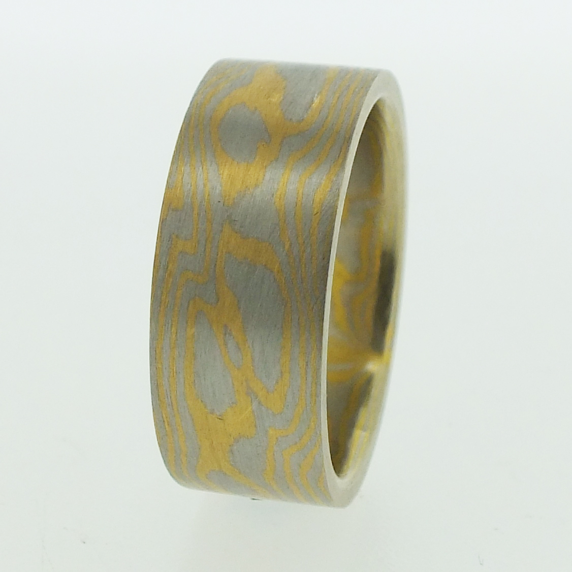 Platinum And 22k Gold Mokume Gane Rings
