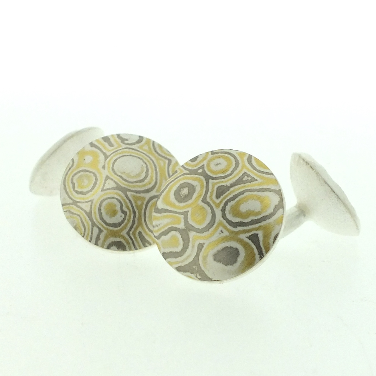 22k gold, 18k white gold and silver mokume gane domed discus cufflinks