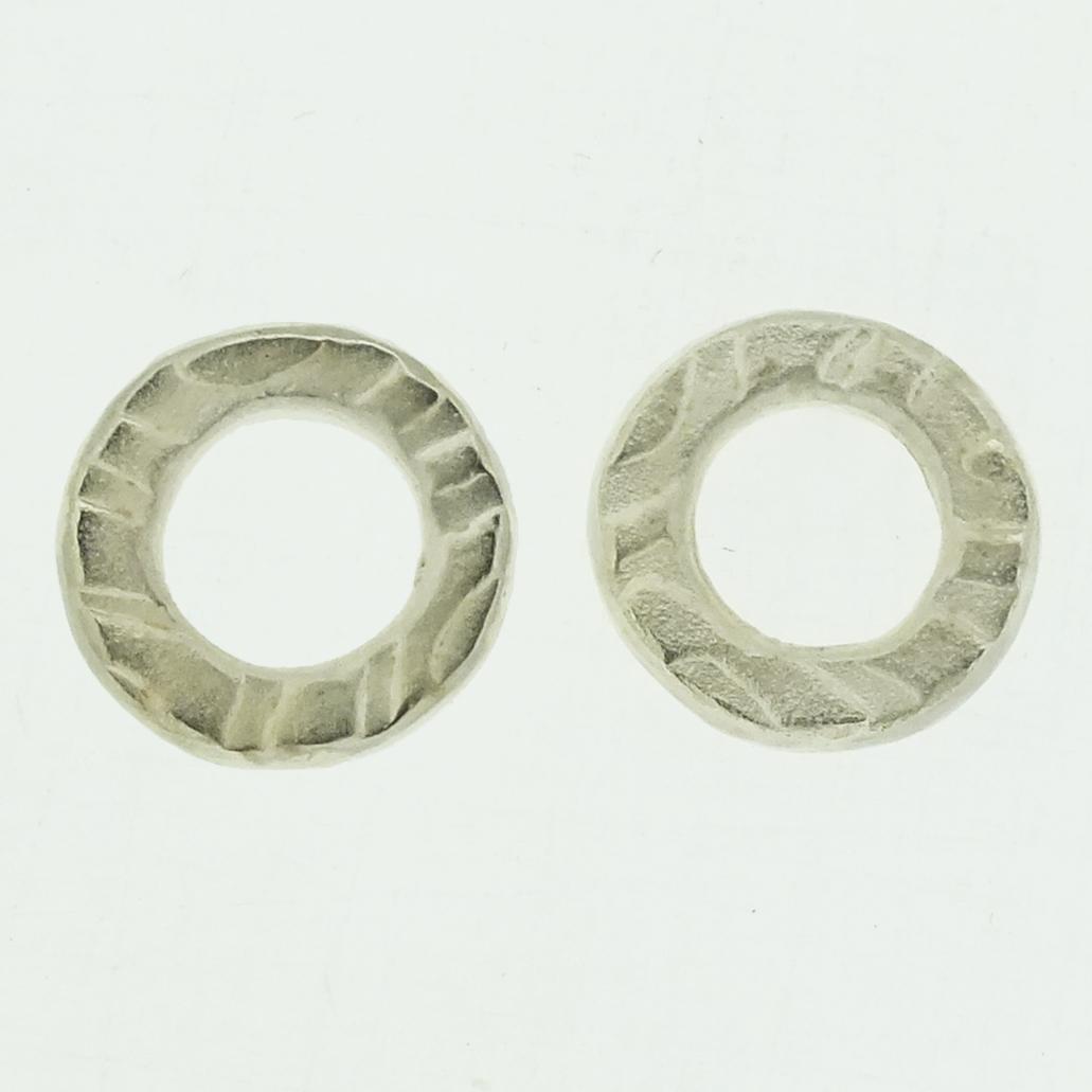 Medium Ring textured silver stud earrings