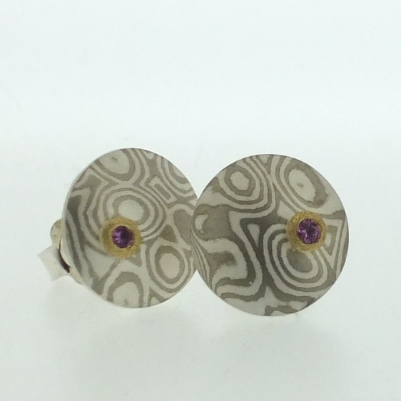 18k white gold and silver mokume gane medium Discus stud earrings with pink sapphires