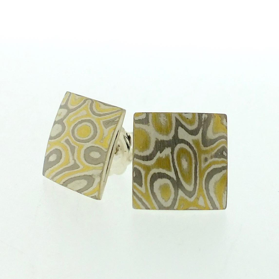 22k gold, 18k white gold and silver mokume gane small pillow stud earrings