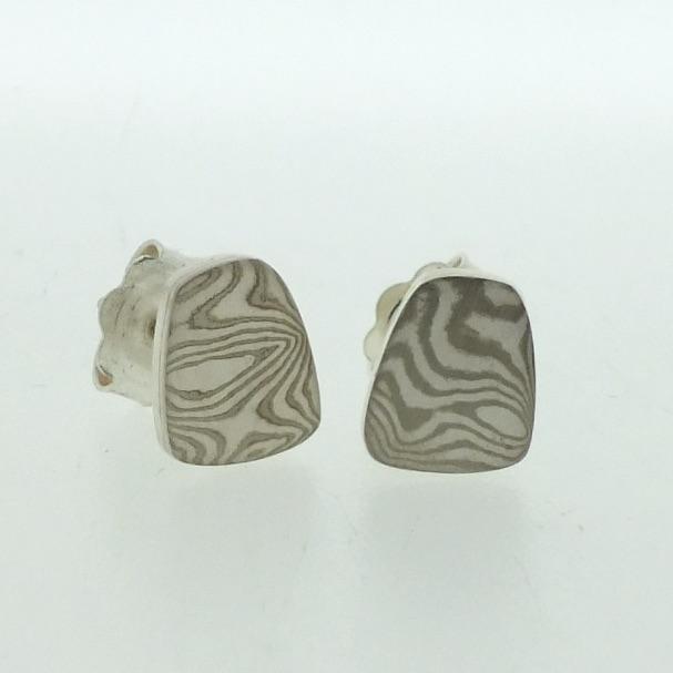Toatie 18k white gold and silver mokume gane Fower Neukit stud earrings