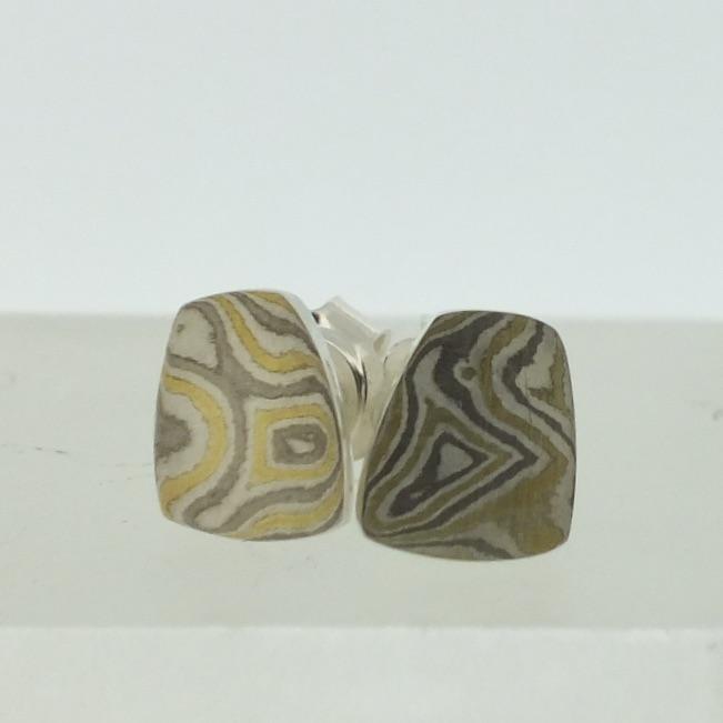 Toatie 22k gold, 18k white gold and silver mokume gane Fower Neukit Stud Earrings