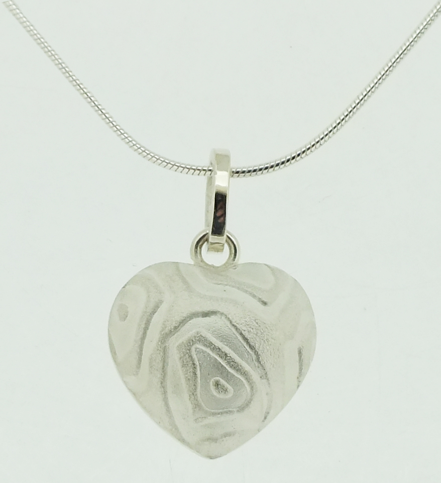 Large Heart Pendant in textured sterling silver