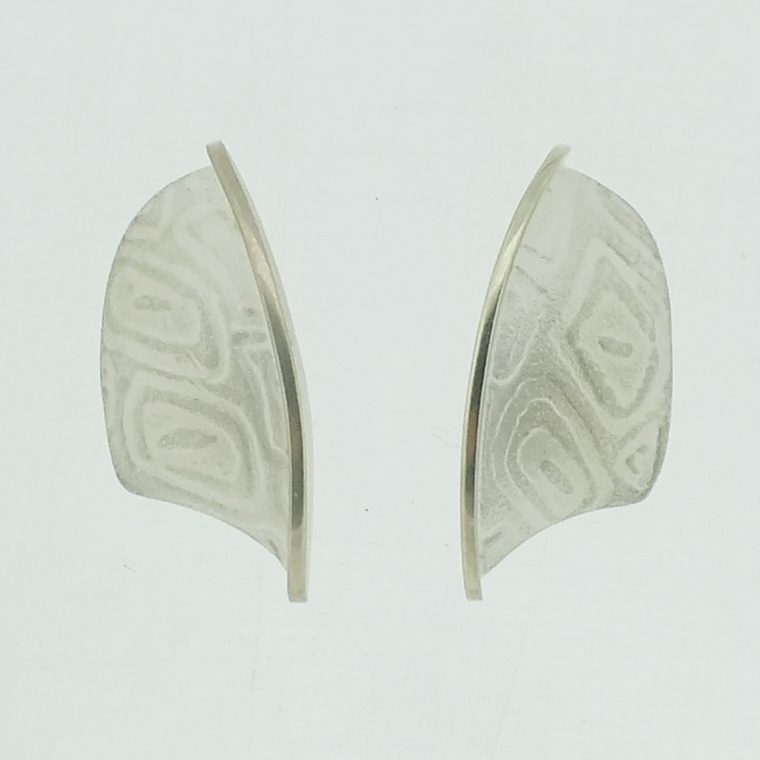 Large Leaf textured silver stud earrings with polished bar
