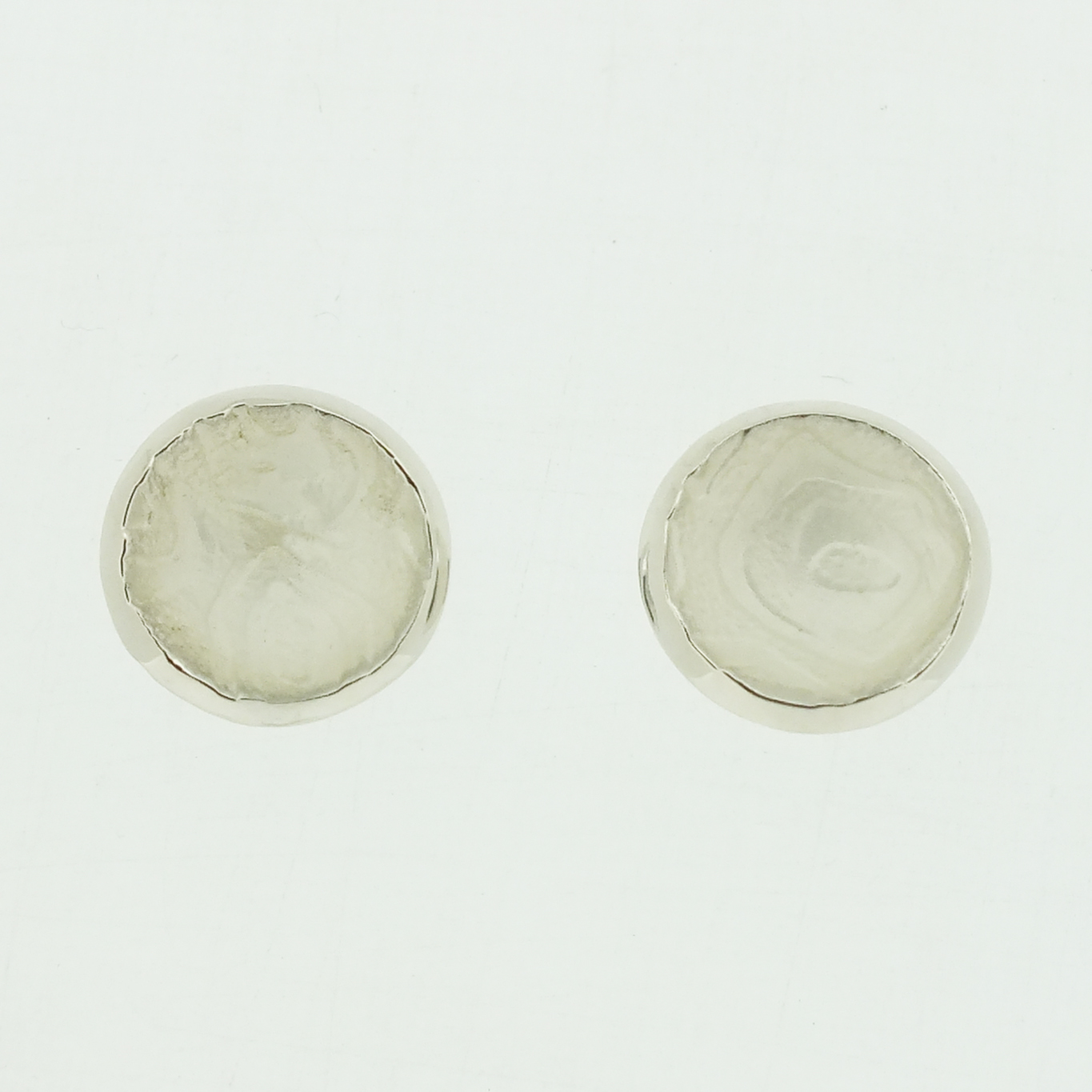 Concave cup textured silver stud earrings