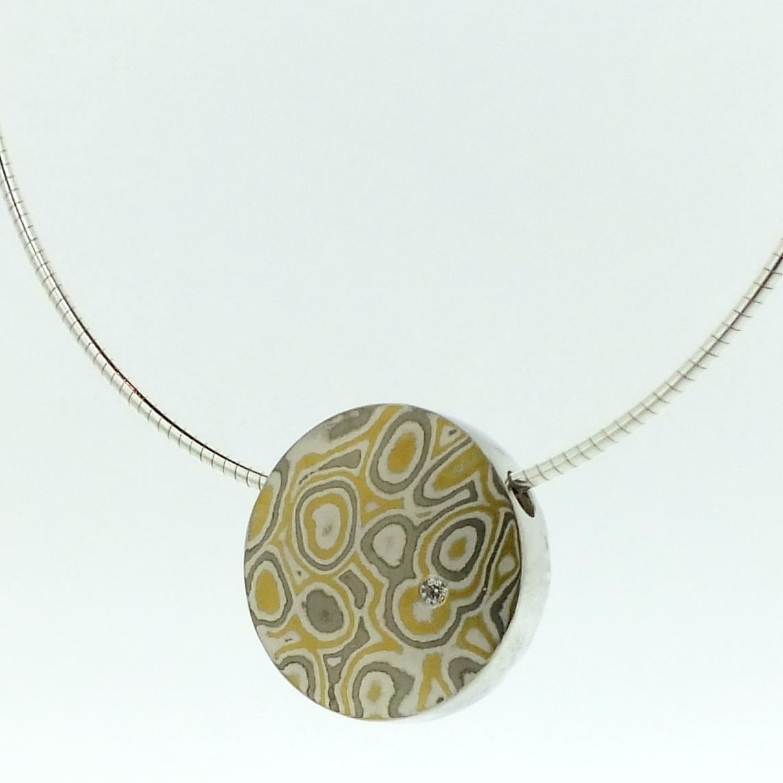 22k gold, 18k white gold and silver mokume gane medium discus pendant with diamond detail