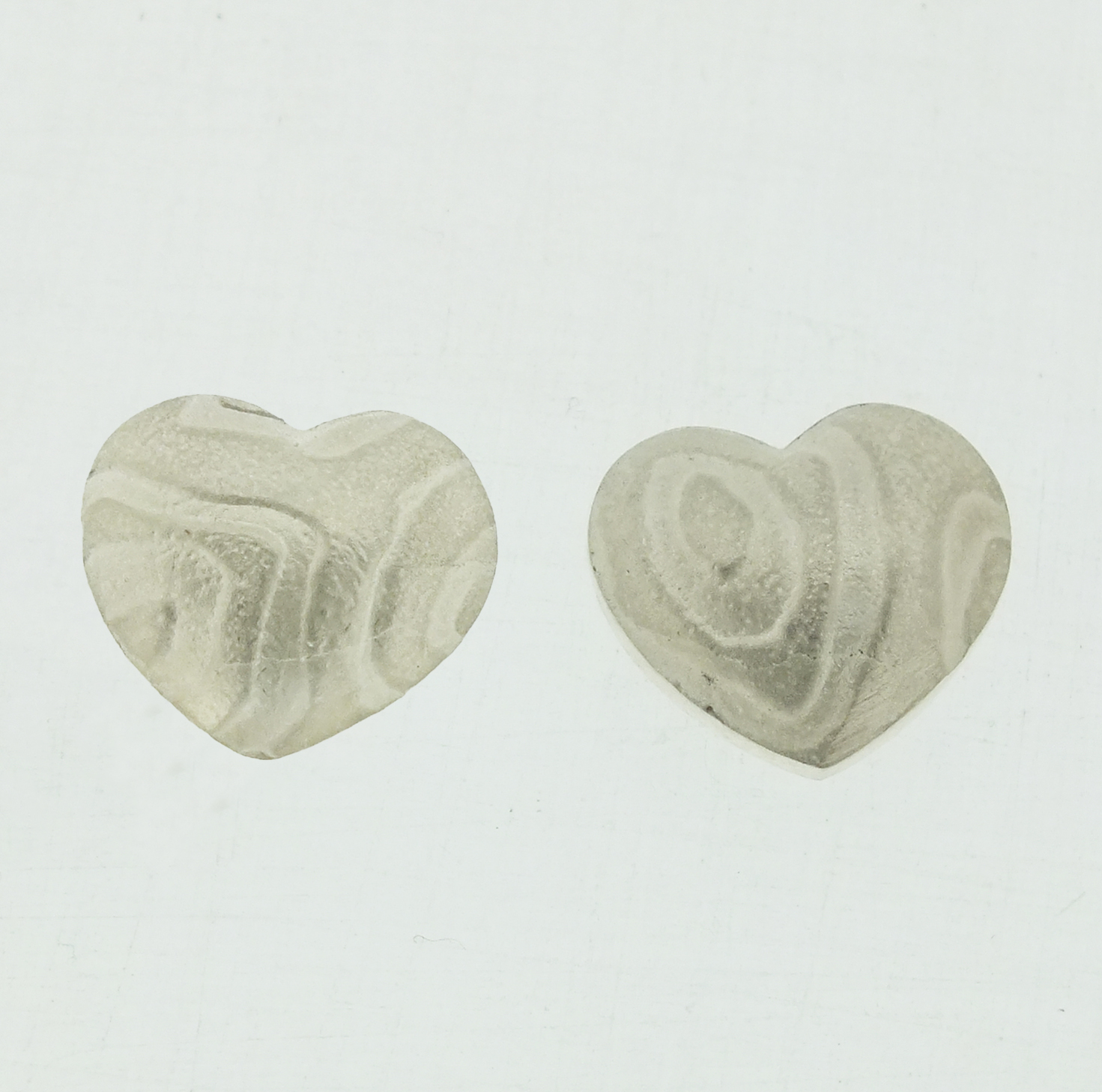 Kimono pattern Heart stud silver earrings