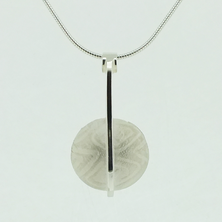 Round Pendant with polished bar sterling silver