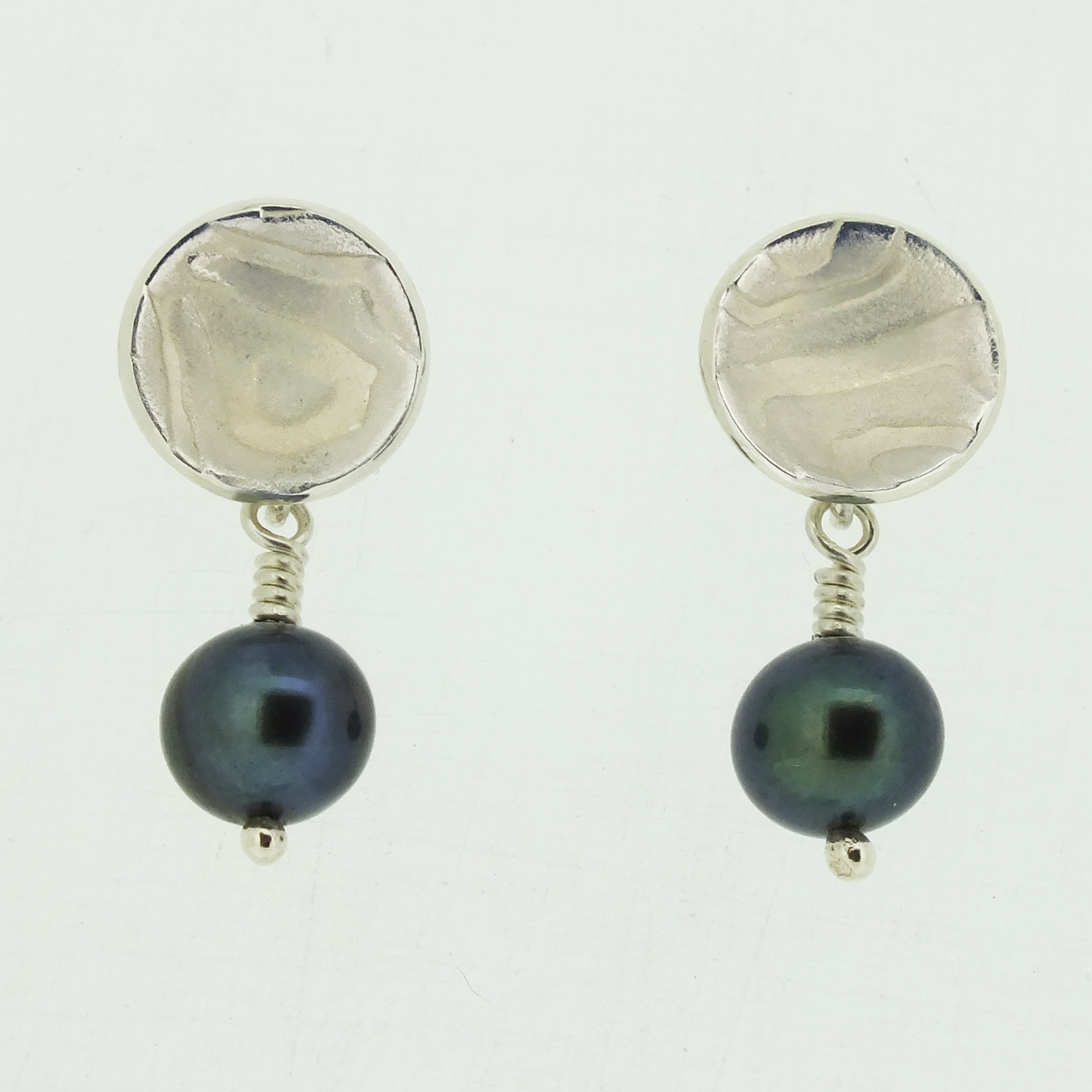 Concave cup textured silver stud earrings with black pearl drop