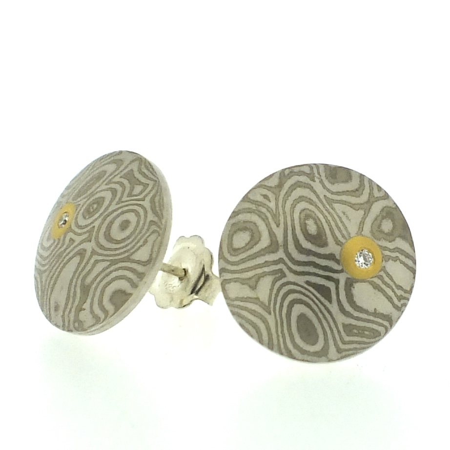 18k white gold and silver mokume gane large Discus stud earrings