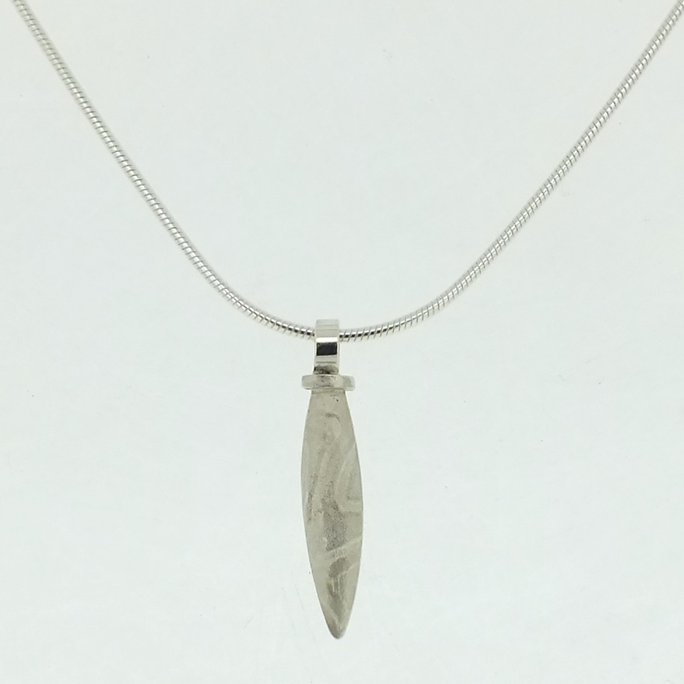 Small Lure Pendant in textured sterling silver