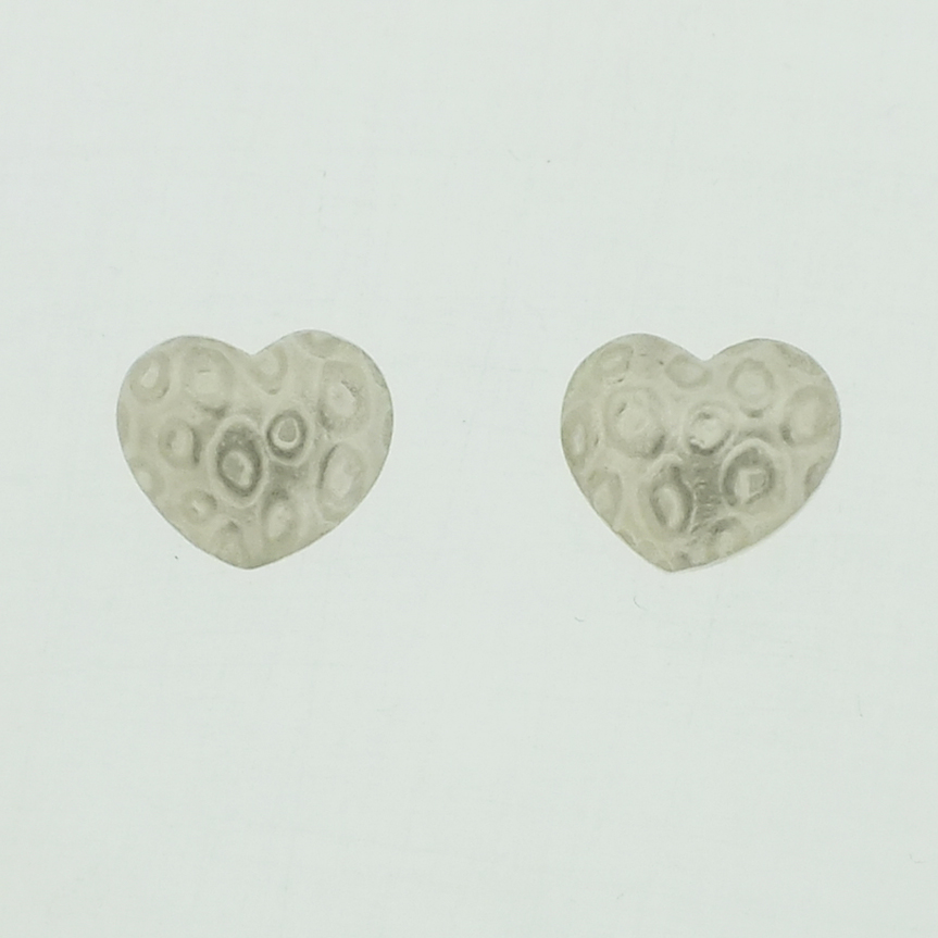 Ameo pattern Heart stud silver earrings