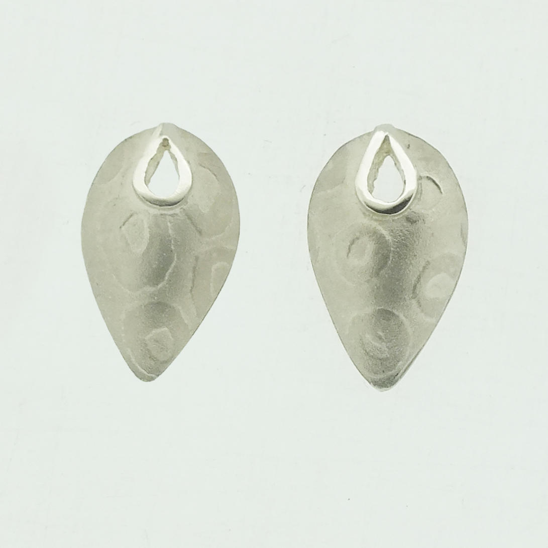 Petal textured silver stud earrings