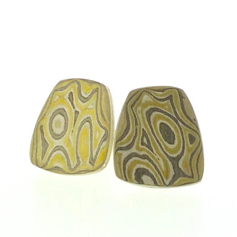 22k gold, 18k white gold and silver mokume gane fower neukit stud earrings