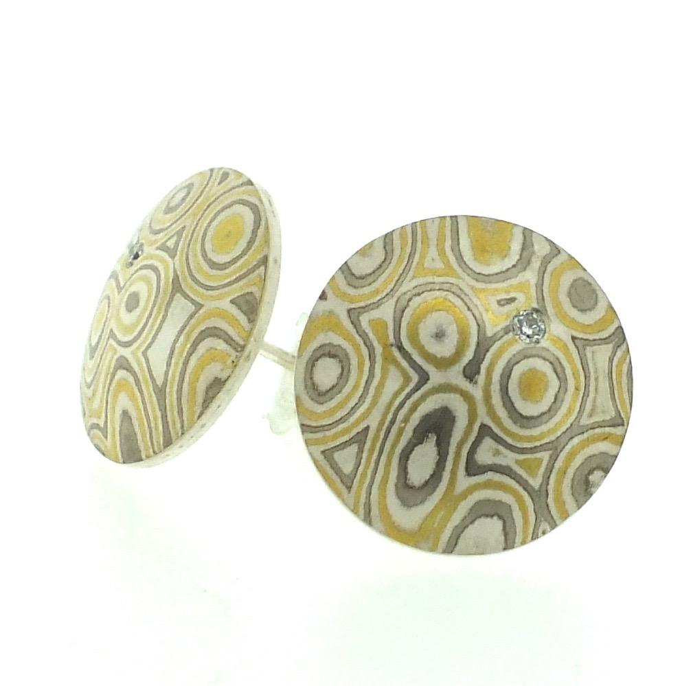 22k gold, 18k white gold and silver mokume gane large Discus stud earrings