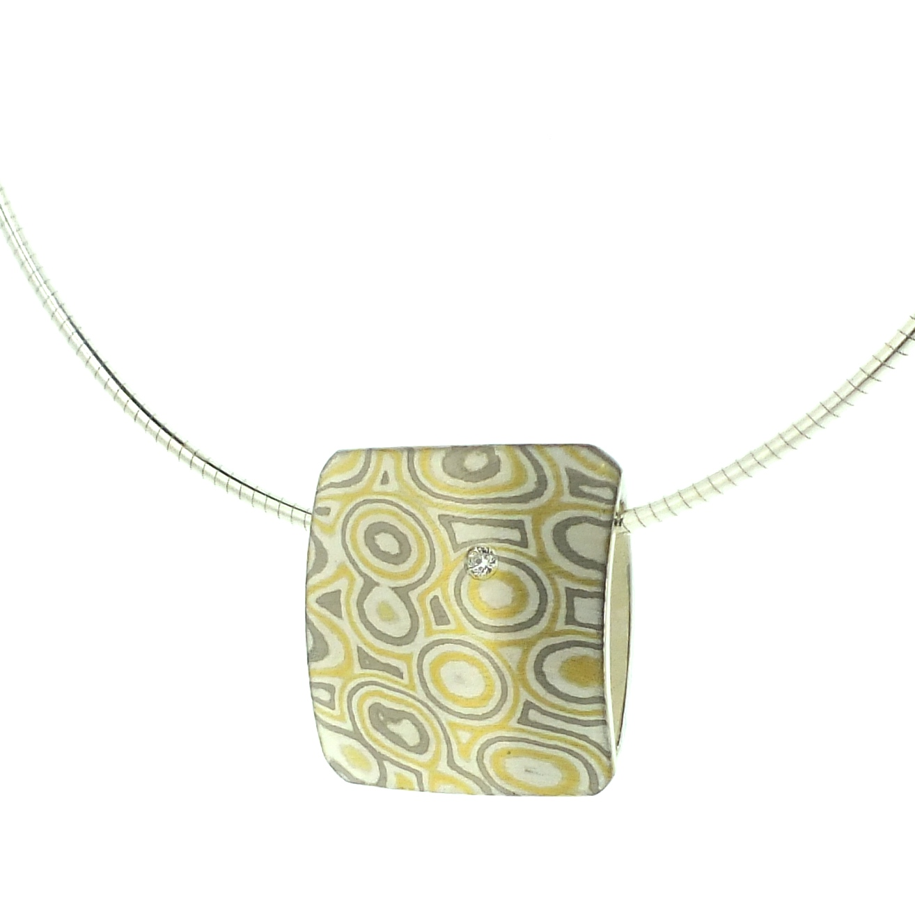 22k gold, 18k white gold and silver mokume gane square pillow pendant with diamond detail