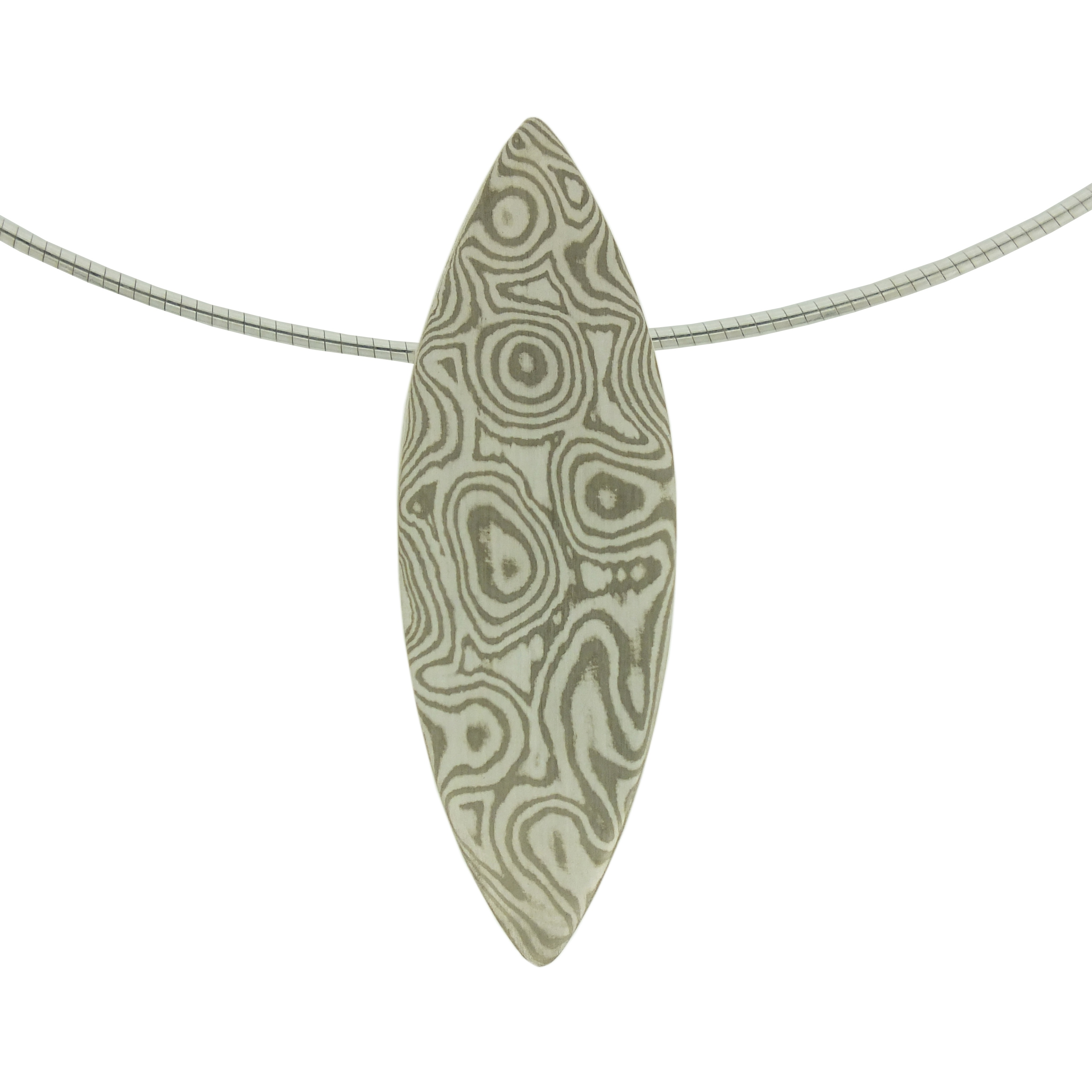 18k white gold and silver mokume gane mandorla pendant