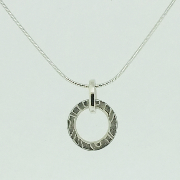 Large Ring Pendant in textured sterling silver