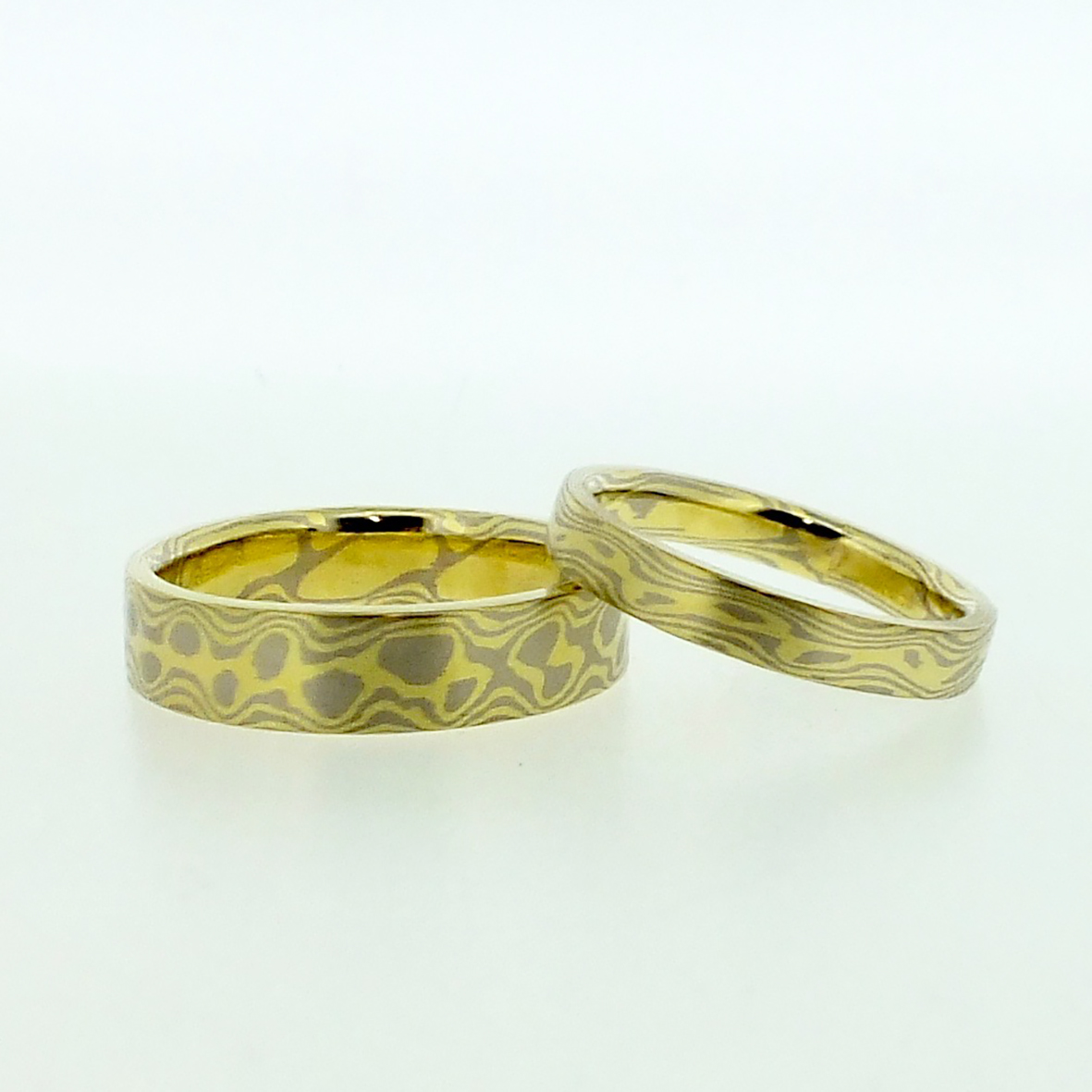 18k White And Yellow Gold Mokume Gane Rings