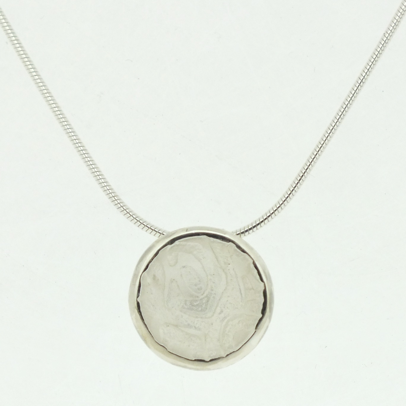 Concave Cup Pendant in textured sterling silver