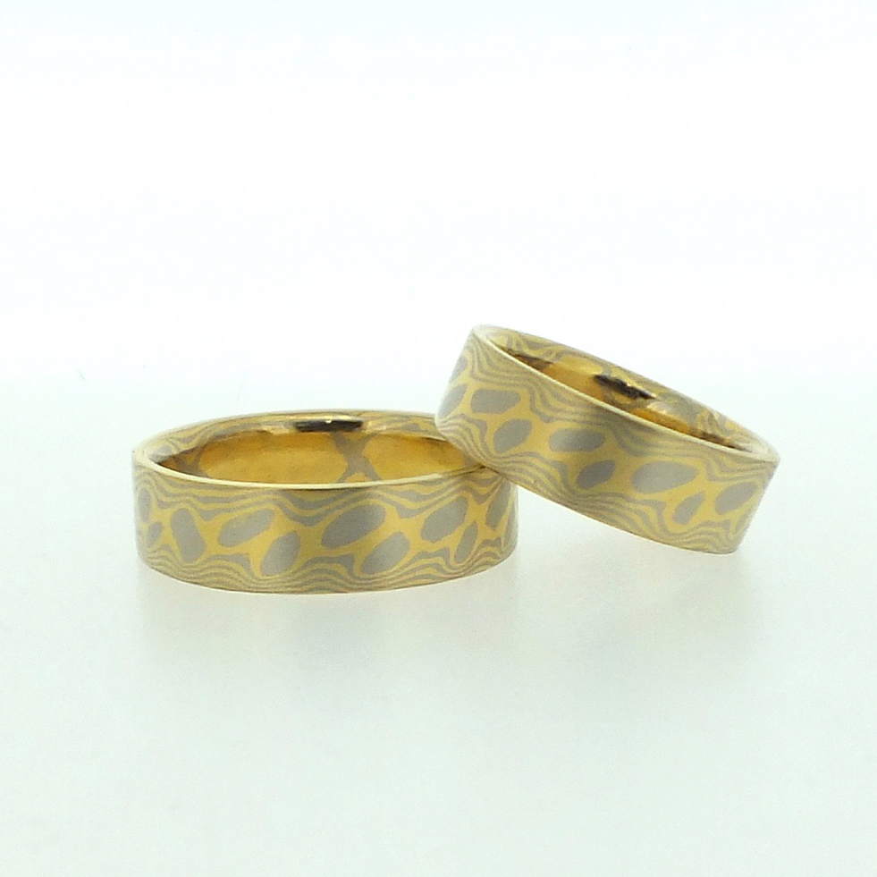 18k White And 22k Gold Mokume Gane Rings