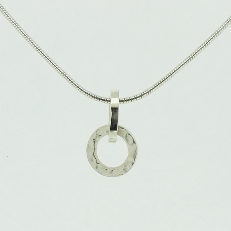 Small Ring Pendant in textured sterling silver