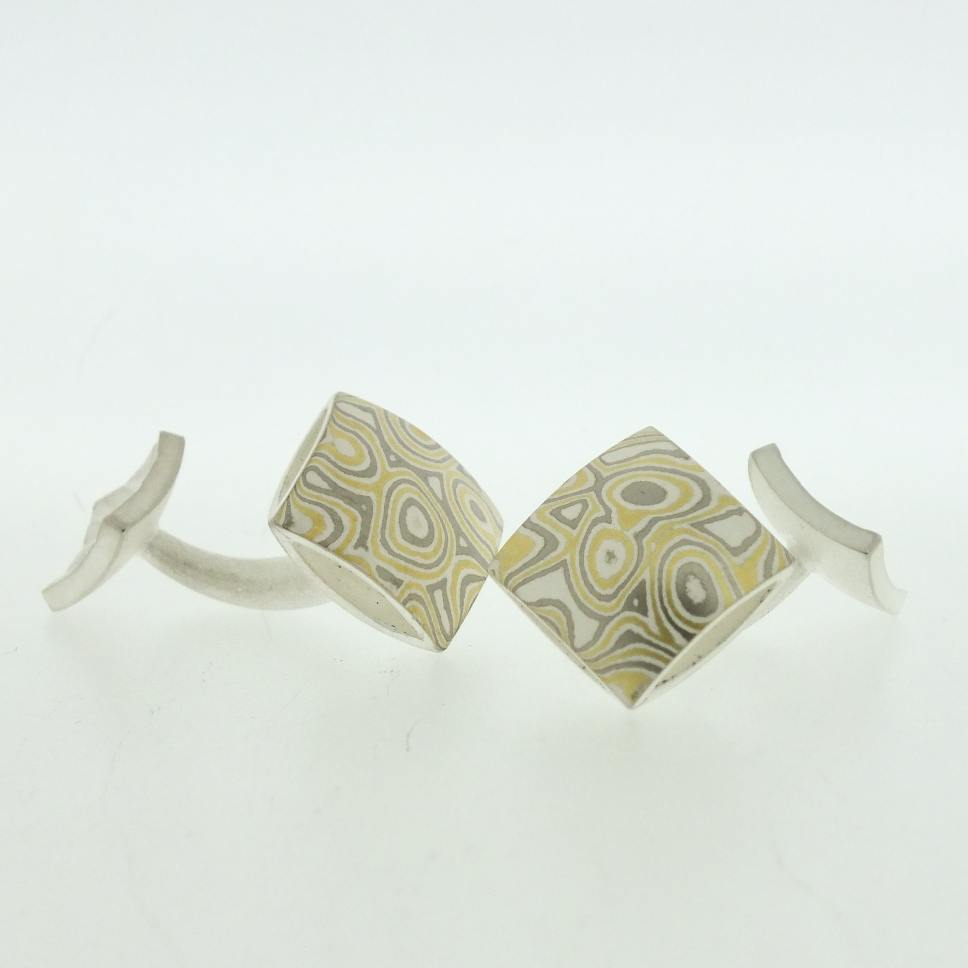 22k gold, 18k white gold and silver mokume gane square pillow cufflinks