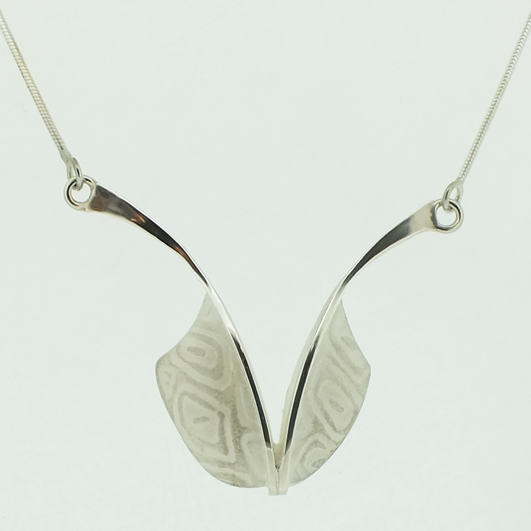Asymmetric Pendant in textured sterling silver