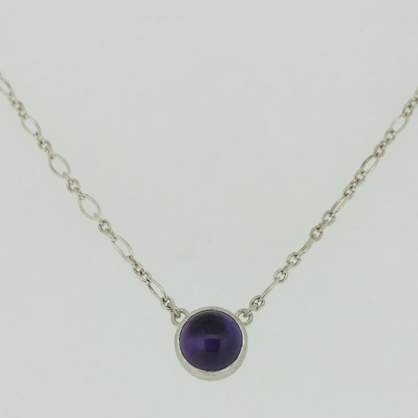Amethyst Round Cabochon Pendant in frosted sterling silver