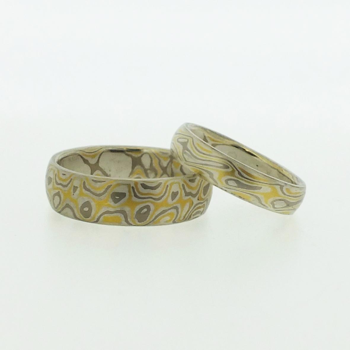 22k gold, 18k White Gold And Silver Mokume Gane Rings