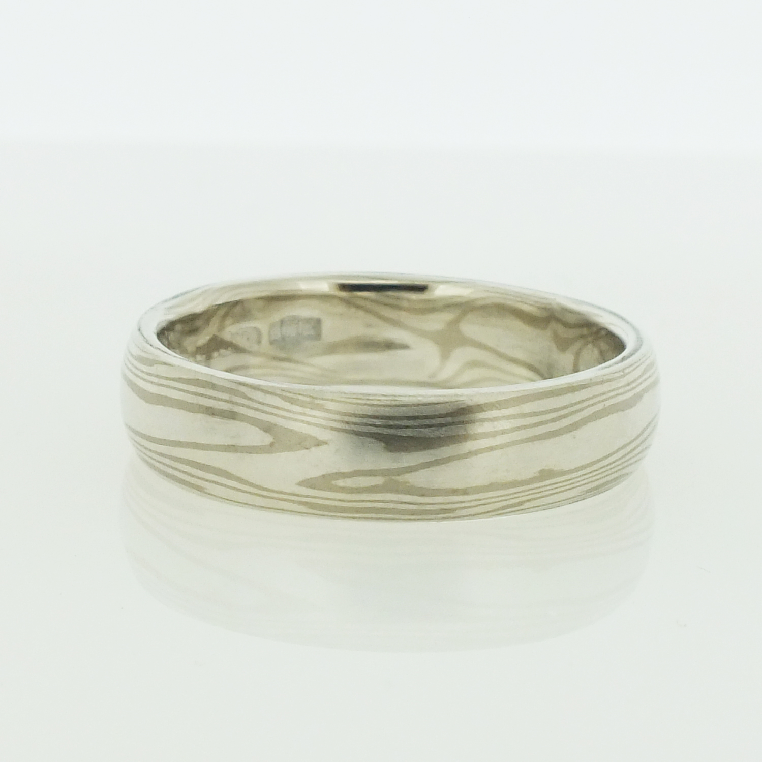 18k White Gold And Silver Mokume Gane Rings
