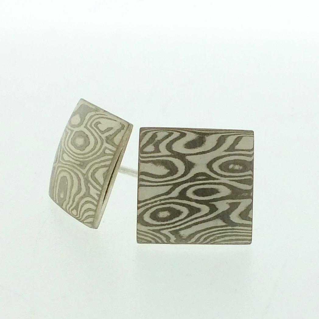 18k white gold and silver mokume gane small pillow stud earrings