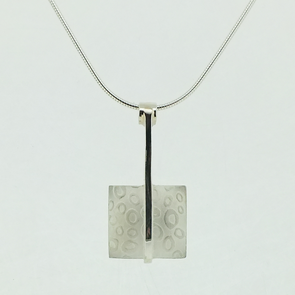 Square Pendant with polished bar in sterling silver