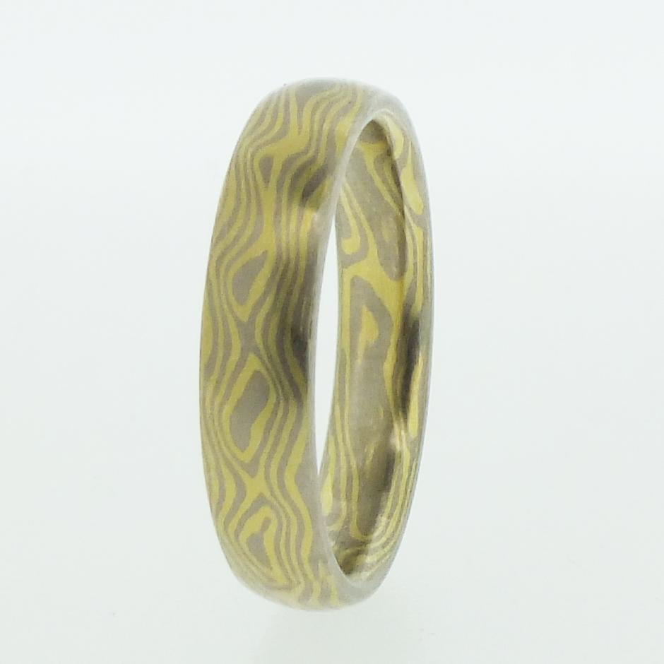 18k White And Yellow Gold Mokume Gane Rings