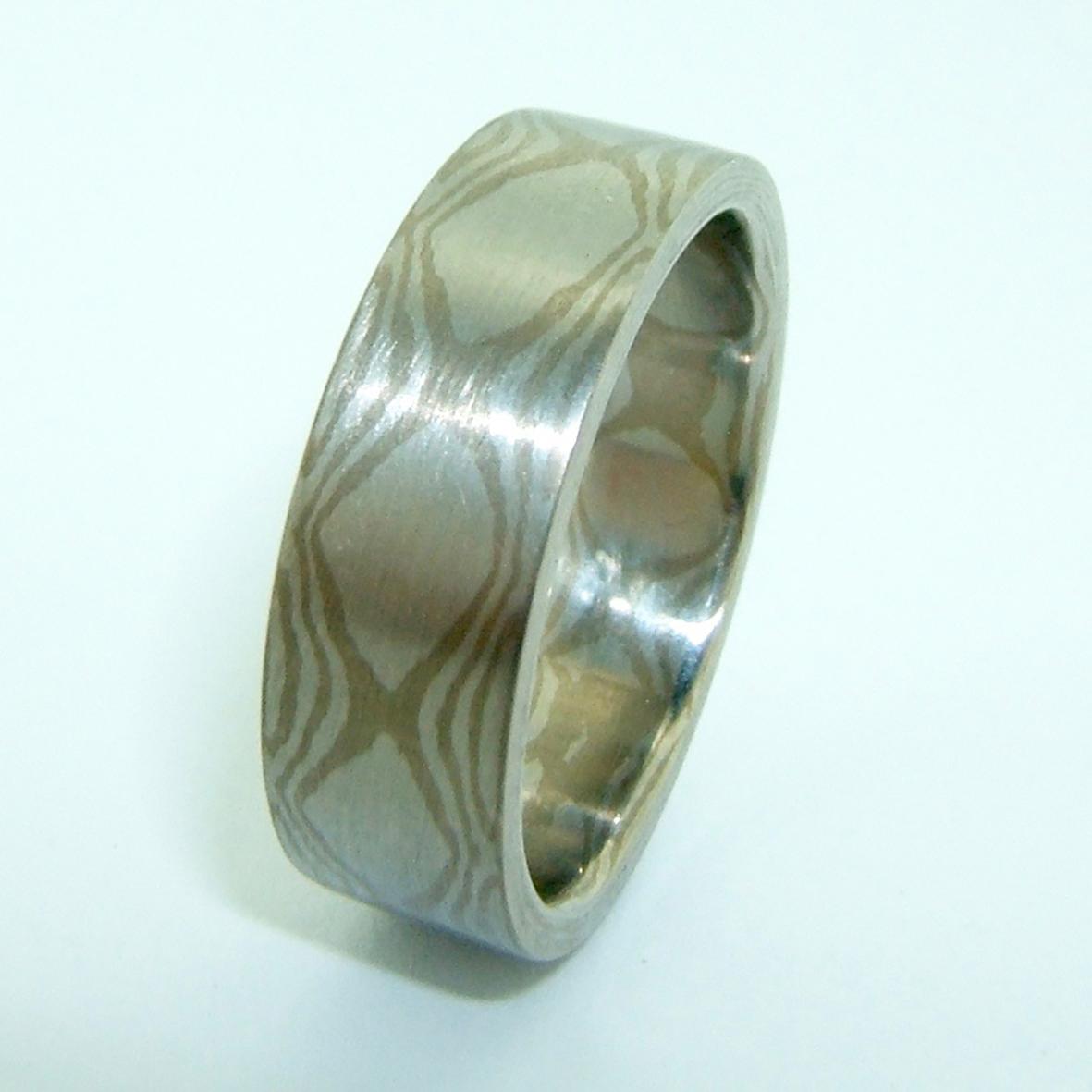 Platinum And 18k White Gold Mokume Gane Rings